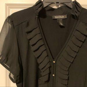 White House Black Market Black Short Sleeve Blouse